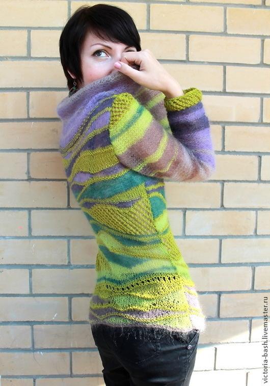 """Кофты и свитера ручной работы. Ярмарка Мастеров - ручная работа. Купить Авторский вязаный пуловер """"Песня фейри"""". Handmade. Зеленый"""