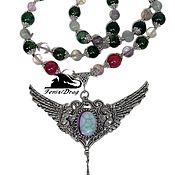 handmade. Livemaster - original item Necklace wings, chrome diopside, fluorite, agate Vintage. Handmade.