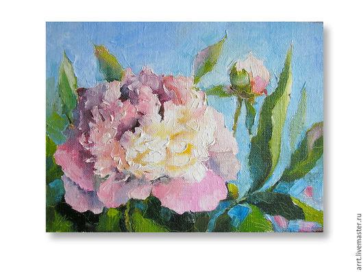 Картины цветов ручной работы. Ярмарка Мастеров - ручная работа. Купить Картина Розовый пион холст масло 18х24 см. Handmade.