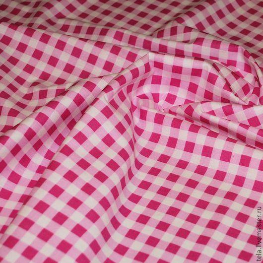 Бело-розовая клетка. Хлопок 100%. Ткань для шитья и рукоделия. Есть в наличии.