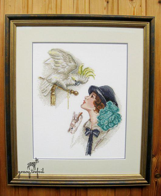 """Люди, ручной работы. Ярмарка Мастеров - ручная работа. Купить Вышивка """"Дама с попугаем"""". Handmade. Комбинированный, вышивка в подарок, леди"""