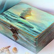 Для дома и интерьера ручной работы. Ярмарка Мастеров - ручная работа Шкатулка из дерева Парусник. Handmade.