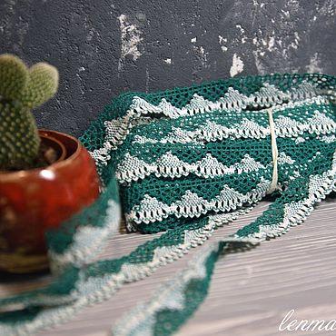 Материалы для творчества ручной работы. Ярмарка Мастеров - ручная работа 1.006L кружево льняное зелёный+оптически белый. Handmade.