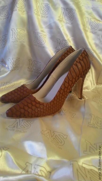 Обувь ручной работы. Ярмарка Мастеров - ручная работа. Купить Туфли классические. Handmade. Коричневый, туфли кожаные, кожа питона