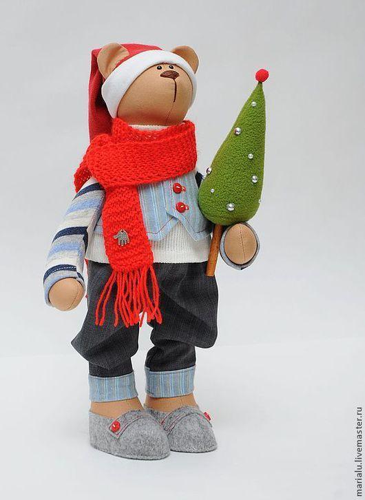 Куклы Тильды ручной работы. Ярмарка Мастеров - ручная работа. Купить Новогодний мишка.. Handmade. Бежевый, мишка тильда, фетр