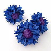 Украшения handmade. Livemaster - original item Set of ring and earrings from leather Cornflowers. Handmade.