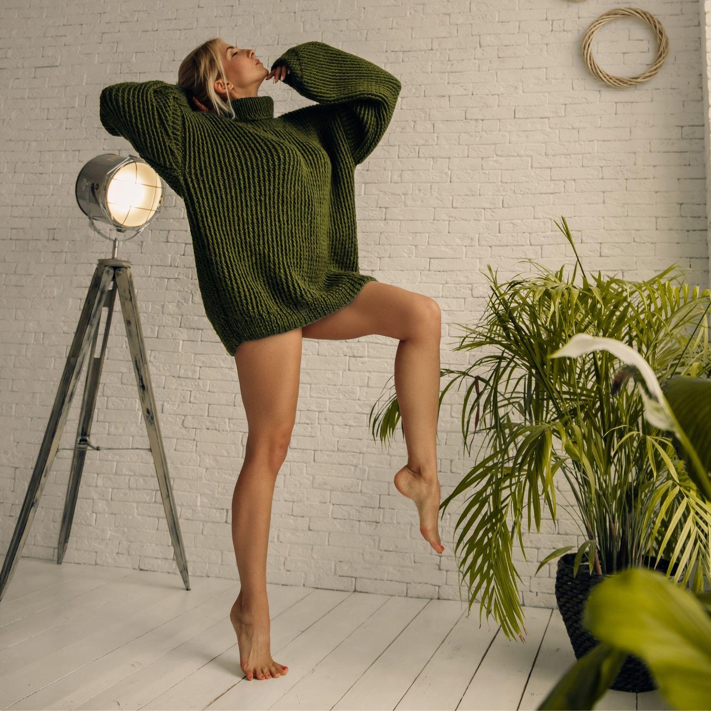 Объёмный свитер (Хаки) 40-42 р, 44-46 р, Свитеры, Омск,  Фото №1