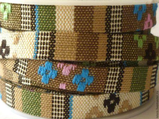 Для украшений ручной работы. Ярмарка Мастеров - ручная работа. Купить Плоский текстильный шнур в стиле этно 10х2мм. Handmade.