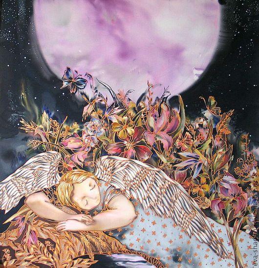 """Пейзаж ручной работы. Ярмарка Мастеров - ручная работа. Купить Панно батик """"Сон о сиреневой луне"""". Handmade. Ангел, цветы"""