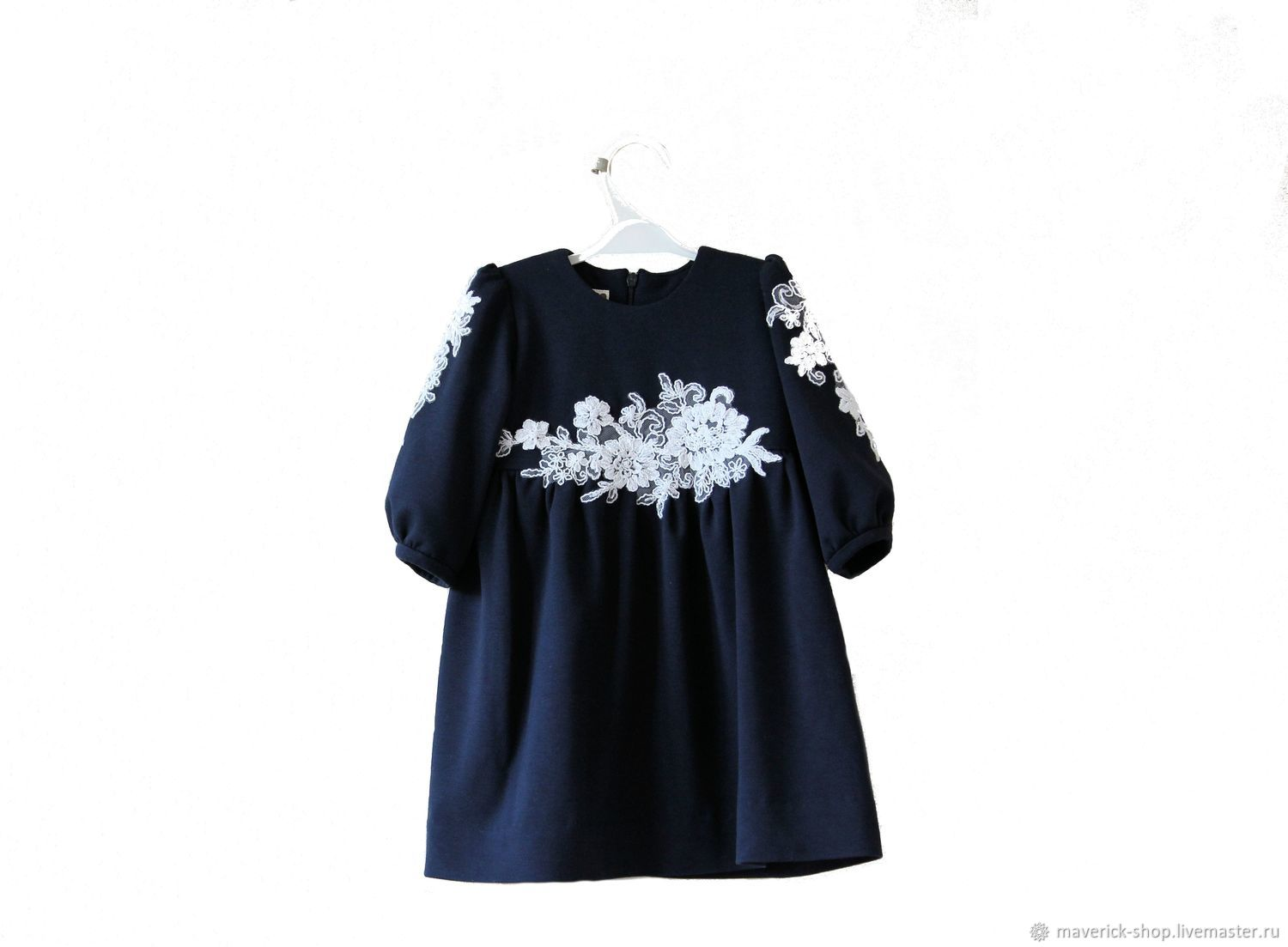 Clothes for Girls handmade. Livemaster - handmade. Buy Dark blue dressy dress for girl from Jersey with lace.