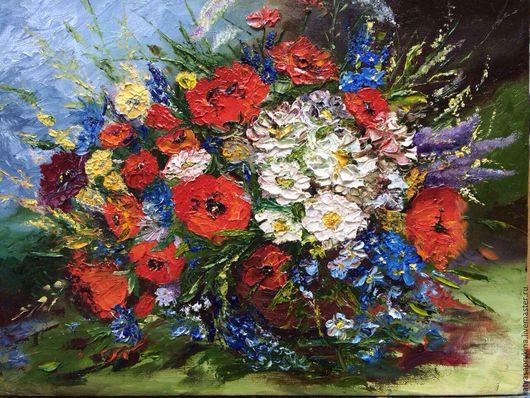 """Картины цветов ручной работы. Ярмарка Мастеров - ручная работа. Купить Картина """"Полевые цветы"""". Handmade. Комбинированный, полевые цветы"""