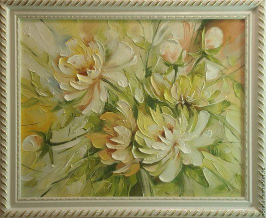 Картины цветов ручной работы. Ярмарка Мастеров - ручная работа. Купить розовые пионы. Handmade. Разноцветный, картина, картина в подарок