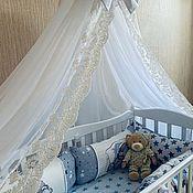 Бортики в кроватку ручной работы. Ярмарка Мастеров - ручная работа Комплект в кроватку (балдахин+бортики). Handmade.