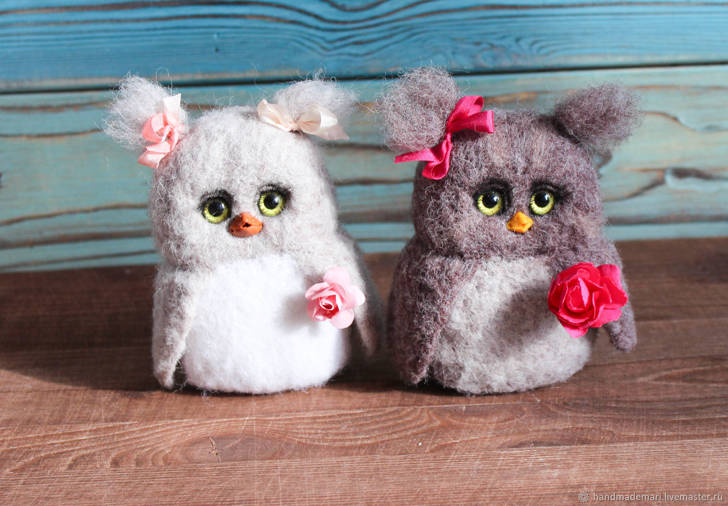Owls with flowers toy made of wool, Felted Toy, Moscow,  Фото №1