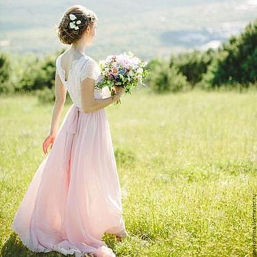 Свадебный салон ручной работы. Ярмарка Мастеров - ручная работа Шелковое свадебное платье для Анастасии. Handmade.