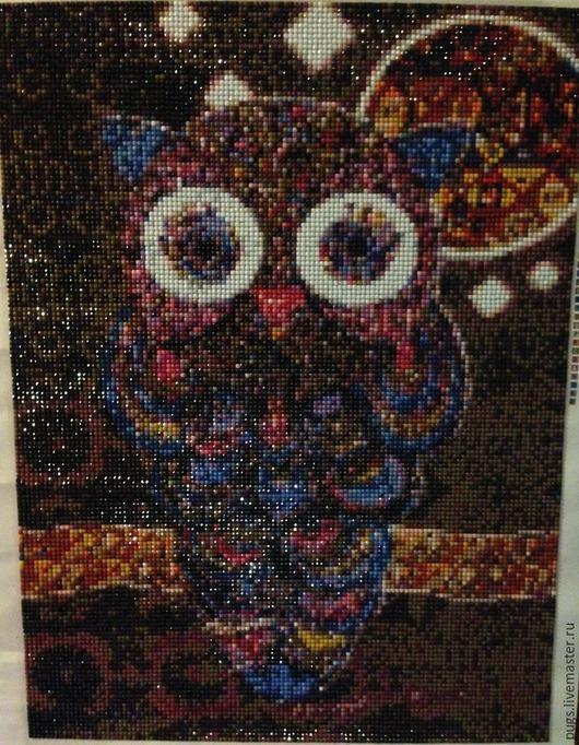 """Животные ручной работы. Ярмарка Мастеров - ручная работа. Купить Алмазная живопись, вышивка стразами """"Сова"""". Handmade. Разноцветный"""