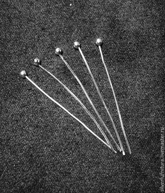 Для украшений ручной работы. Ярмарка Мастеров - ручная работа. Купить Серебро925: пин с шариком, 30 мм, 1 шт. Handmade.