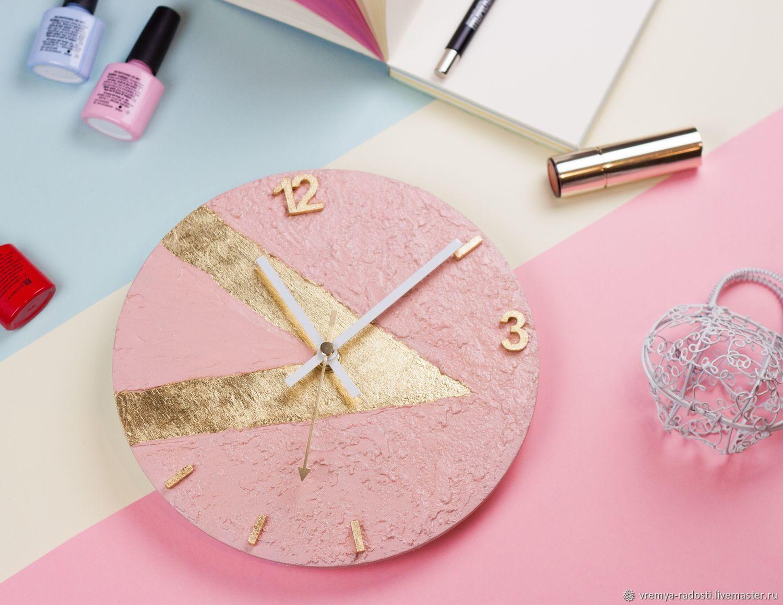 Розовые круглые настенные часы с золотой поталью, Часы классические, Москва,  Фото №1