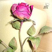 Цветы и флористика ручной работы. Ярмарка Мастеров - ручная работа Брошь роза из кожи. Цвет -фуксия,цикламен.Цветы из кожи. Handmade.
