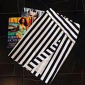 Одежда ручной работы. Ярмарка Мастеров - ручная работа Юбка с разрезом в разнонаправленную полоску хлопок-стрейч. Handmade.
