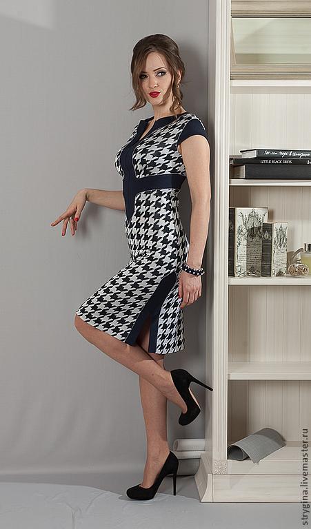 Платья ручной работы. Ярмарка Мастеров - ручная работа. Купить Платье Poli meno. Handmade. Тёмно-синий, гусиная лапка