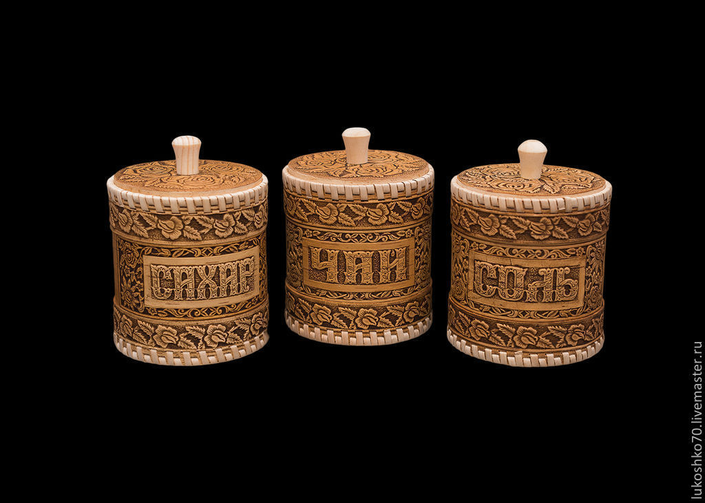 """Набор туесов из бересты """"Розы"""" соль, чай, сахар. Баночки для хранения, Jars, Tomsk,  Фото №1"""
