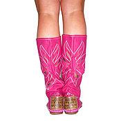 Обувь ручной работы. Ярмарка Мастеров - ручная работа Летние кожанные сапоги FIORE /фуксия/ 38 размер в наличие/. Handmade.