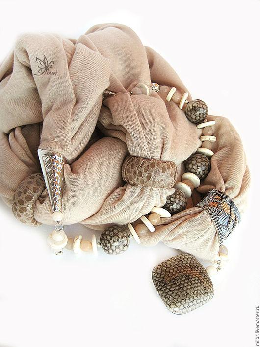 """Шарфы и шарфики ручной работы. Ярмарка Мастеров - ручная работа. Купить """"Нагайна"""" шарф трансформер с браслетом и кулоном. Handmade."""
