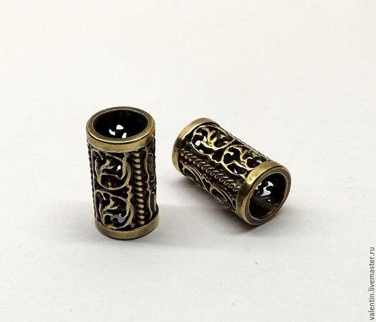 Для украшений ручной работы. Ярмарка Мастеров - ручная работа. Купить Трубочка латунная, на шнур 4 мм. Handmade. Желтый