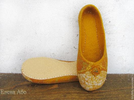Обувь ручной работы. Ярмарка Мастеров - ручная работа. Купить Балетки войлочные. Handmade. Желтый, балетки домашние, войлочные тапочки