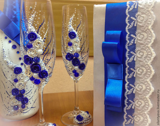 """Свадебные аксессуары ручной работы. Ярмарка Мастеров - ручная работа. Купить Свадебный комплект """"Сияние"""". Handmade. Тёмно-синий, шампанское"""