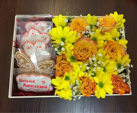 Кулинарные сувениры ручной работы. Ярмарка Мастеров - ручная работа. Купить Коробка с цветами и пряниками. Handmade. Коробка с цветами