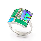 Rings handmade. Livemaster - original item RING 4 window. Malachite, Turquoise, Mother Of Pearl. Ring size 19.2. Handmade.