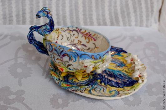 """Сервизы, чайные пары ручной работы. Ярмарка Мастеров - ручная работа. Купить Чайная пара """"Синяя жар-птица"""". Handmade."""