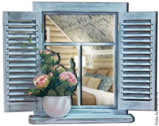 Интерьерное панно-зеркало Окно со ставнями в стиле прованс