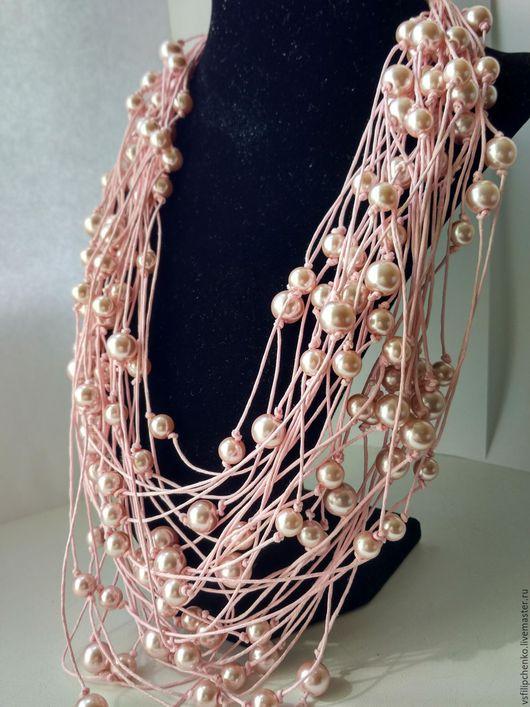 Колье, бусы ручной работы. Ярмарка Мастеров - ручная работа. Купить Ожерелье Нежность пиона. Handmade. Розовый