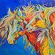 """Животные ручной работы. Ярмарка Мастеров - ручная работа. Купить """"Индейская Ночь"""" картина с лошадьми (холст, масло). Handmade. Оранжевый"""