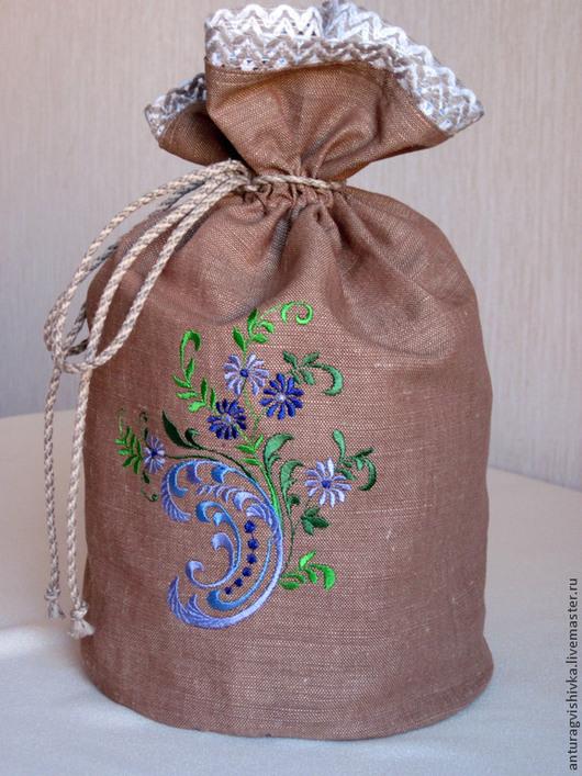 Льняной мешочек для хранения сушеных трав - `Мятная фантазия`.