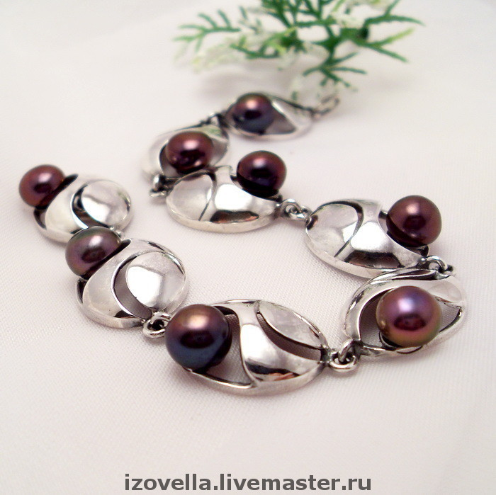 Bracelet Briz - natural pearls, silver 925, Chain bracelet, Prague,  Фото №1