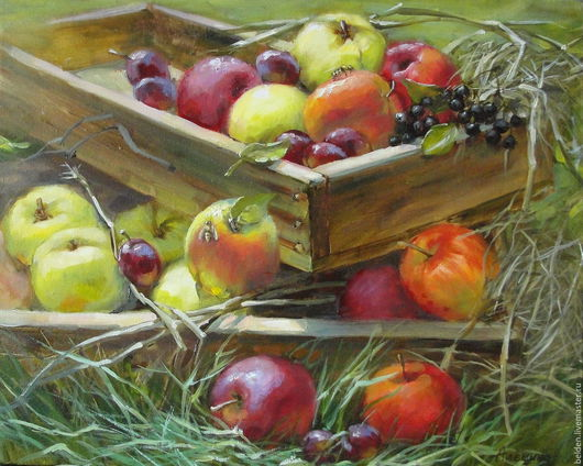 Натюрморт ручной работы. Ярмарка Мастеров - ручная работа. Купить Яблоки молодильные. Handmade. Бордовый, яблоки молодильные