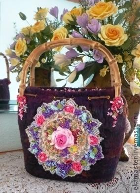 bag felted. Bag embroidered ribbons 'Vintage motif', Classic Bag, Ekaterinburg,  Фото №1