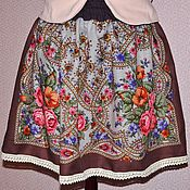 Одежда handmade. Livemaster - original item Skirt Pavlovoposadskaja a scarf