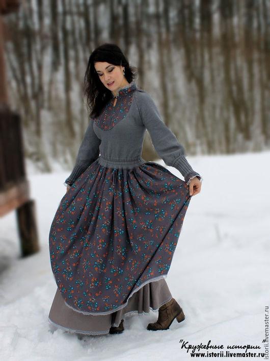 """Платья ручной работы. Ярмарка Мастеров - ручная работа. Купить Ретро-платье """"Сказка"""". Handmade. Вязаное платье, длинная юбка"""
