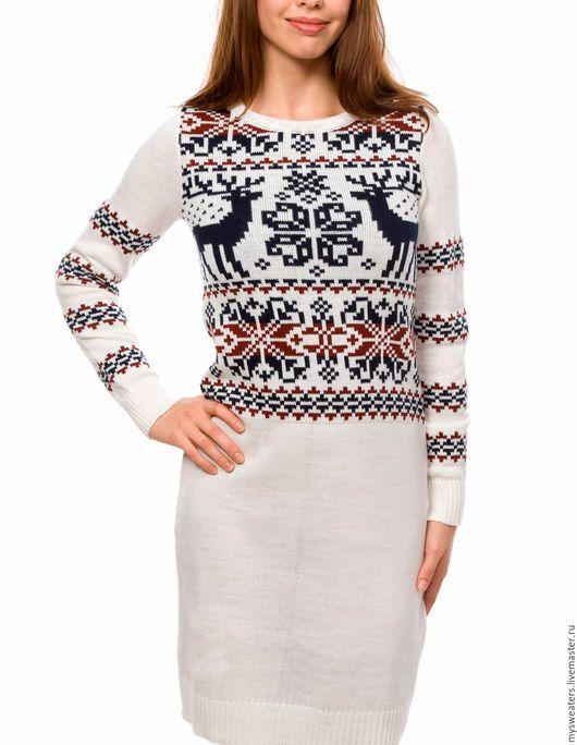 """Платья ручной работы. Ярмарка Мастеров - ручная работа. Купить Платье из шерсти """"Скандинавские олени белое. Handmade. Платье"""