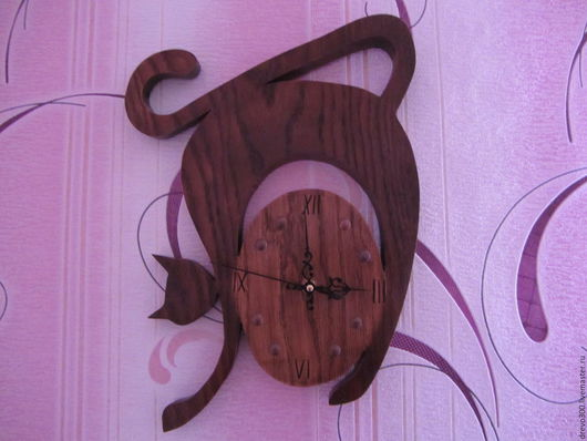 """Часы для дома ручной работы. Ярмарка Мастеров - ручная работа. Купить Часы """"Грациозная кошка"""". Handmade. Коричневый, часы настенные"""