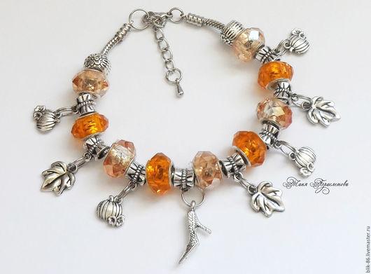 """Браслеты ручной работы. Ярмарка Мастеров - ручная работа. Купить Браслет """"Золушка"""" в стиле Пандора. Handmade. Оранжевый, браслет с подвесками"""