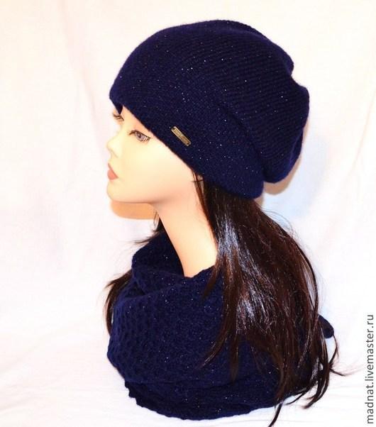 """Комплекты аксессуаров ручной работы. Ярмарка Мастеров - ручная работа. Купить Комплект """"Ночь"""" двойная зимняя шапка + шарф-палантин. Handmade."""
