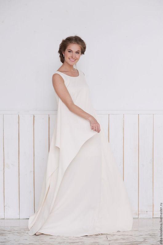 Платья ручной работы. Ярмарка Мастеров - ручная работа. Купить Платье Нимфа в молочном цвете. Handmade. Тёмно-синий