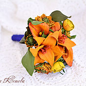 Цветы и флористика handmade. Livemaster - original item Interior wedding Bridal bouquet understudy leather Orange flowers. Handmade.