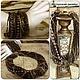 Купить комплект украшений из натуральных камней коричневого цвета крупное колье ожерелье из камней